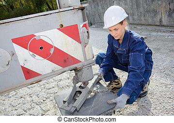 nivelación, el, construcción, camión