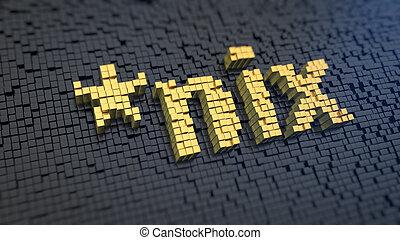 nix cubics - Word '*nix' of the yellow square pixels on a...
