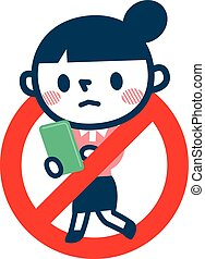 Nix sign,Texting while walking - Vector...