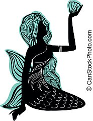 nixe, silhouette, seashell, logotype, figur, m�dchen, fairytale., sitzen, freigestellt