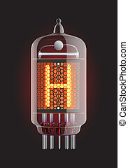 "Nixie tube indicator. Letter ""H"" from retro, Transparency guaranteed. Vector illustration."