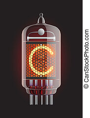 "ixie tube indicator. Letter ""C"" from retro, Transparency guaranteed. Vector illustration."