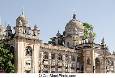 View of the ornate facade of Nizamia Hospital in Hyderabad, Andhra Pradesh. Built in Victorian times, the hospital still treats patients.