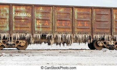 Old rusty train wagons with stalactites of salt - Nizhniy...