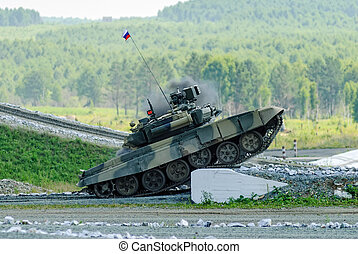 Russian main battle tank T-80 on the ground