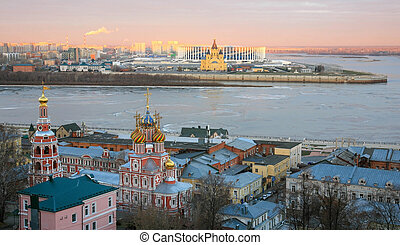 Nizhny Novgorod at sunrise in the first signs of winter