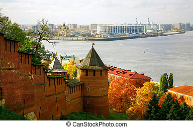 Nizhny Novgorod Kremlin against the background of the confluence of the Oka and Volga rivers on a sunny autumn day