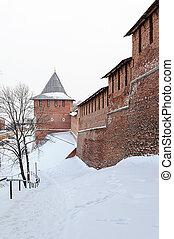 Nizhny Novgorod Kremlin wall and tower in winter