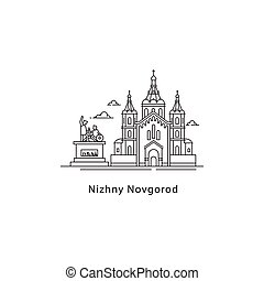 Nizhny Novgorod logo isolated on white background. Nizhny Novgorod s landmarks line vector illustration. Traveling to Russia cities concept.