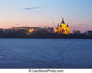 Nizhny Novgorod, Russia. Construction of the stadium for the World Cup 2018.