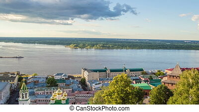 Nizhny Novgorod, Russia.Day time-lapse, View of the Volga...