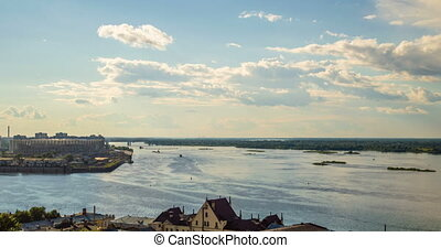 Nizhny Novgorod, Russia.Day time-lapse,View of the Volga...
