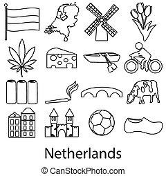 nizozemsko, země, námět, nárys, symbol, ikona, dát, eps10