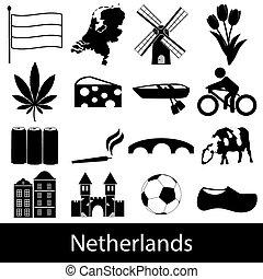 nizozemsko, země, námět, symbol, ikona, dát, eps10