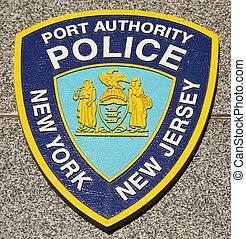 nj, emblème, autorité, ny, police, port