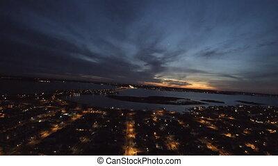 nj, plage, ville, vue, aérien, bord mer, nuit, secteur résidentiel
