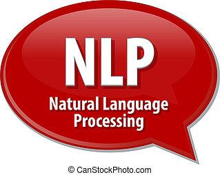 nlp, definicja, akronim, ilustracja, bańka mowy