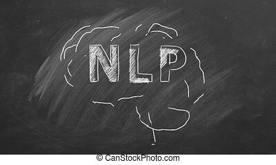 Neuro-linguistic programming. Chalk drawing of the human brain in the blackboard with lettering NLP inside.