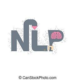 nlp, presa a terra, illustrazione, emblem., vettore, brain.,...