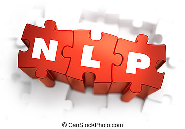 NLP - Neuro Linguistic Programming - White Word on Red Puzzles on White Background. 3D Render.