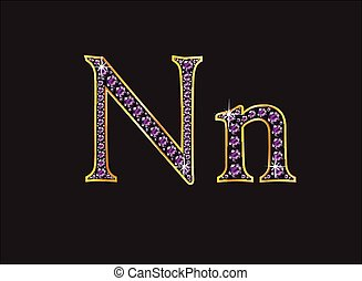 Nn Amethyst Jeweled Font with Gold