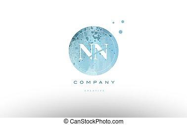 nn n watercolor grunge vintage alphabet letter logo