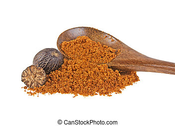 Nutmeg powder in wooden spoon isolated on white background