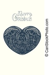 noël, éléments, cloches, card., cerf, intérieur, salutation, santa, main, heart:, arbre, bonhomme de neige, joyeux, dessiné, traîneau, etc., flocons neige