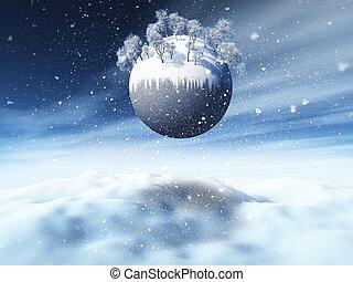 noël, 3d, paysage, arbres, hiver, neigeux, globe