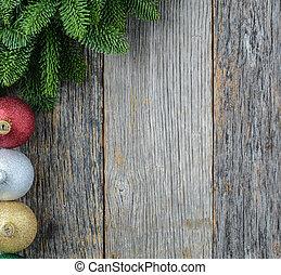 noël, aiguille pin, et, ornements, sur, a, rustique, bois,...