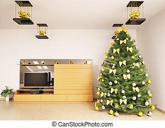 noël, arbre sapin, dans, habiter moderne, salle, intérieur, 3d, render