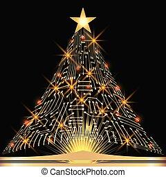 noël, arbre sapin, depuis, numérique, circuit électronique,...