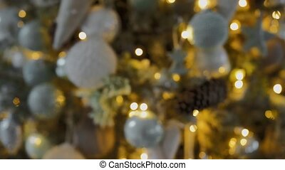 noël, arbre., toy., frapper, appareil photo, jouets, gros plan, arbre