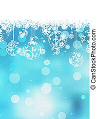 noël, arrière-plan bleu, à, neige, flakes., eps, 10