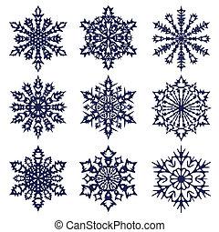 noël, arrière-plan., snowflakes.