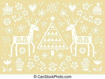 noël, art folklorique, carte voeux, à, renne, fleurs, arbre noël, et, vêtements hiver, modèle, dans, blanc, sur, or, fond, -, joyeux noël, décoration