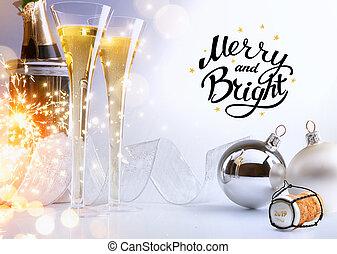 noël, art, party;, année, clair, 2019, joyeux, nouveau, ou