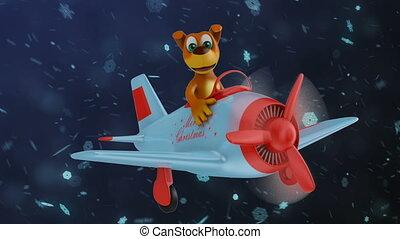 noël, avion, joyeux, chien