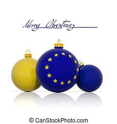 noël, balles, à, drapeau européen syndicats, isolé, blanc