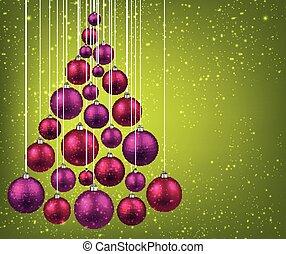 noël, balls., arbre, magenta