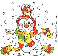 noël, bonhomme de neige, à, a, cloche