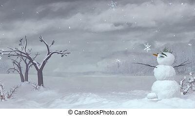 noël, bonhomme de neige