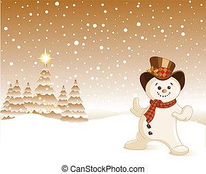 noël, bonhomme de neige, fond