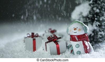 noël, bonhomme de neige, neige, sous, dons
