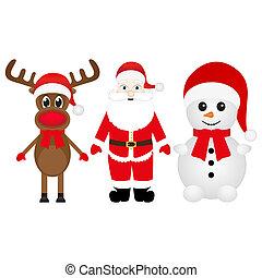 noël, bonhomme de neige, renne, santa