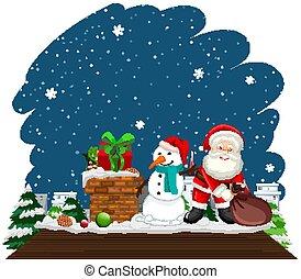 noël, bonhomme de neige, santa, thème