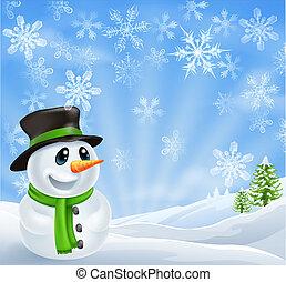 noël, bonhomme de neige, scène