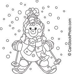 noël, bonhomme de neige, skieur