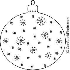 noël boule, à, flocons neige