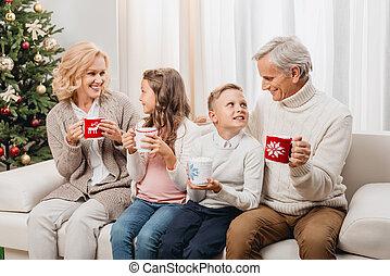 noël célébrant, famille, heureux